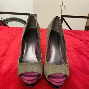Grey ColorBlock Peep Toe Heels